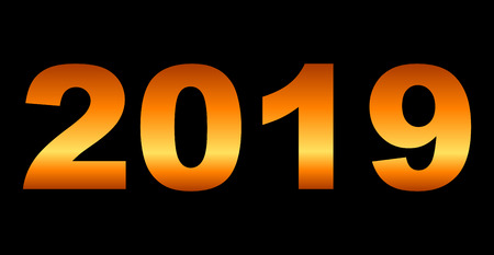 year 2019 - orange gradient reflection, isolated numbers - vector illustration