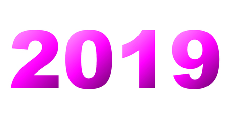 year 2019 - purple gradient, isolated numbers - vector illustration