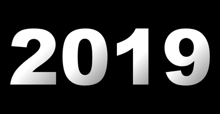 year 2019 - white gradient, isolated numbers - vector illustration