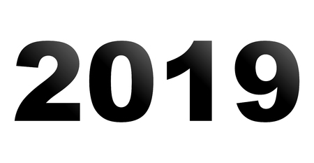 year 2019 - black gradient, isolated numbers - vector illustration