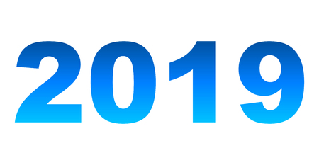 year 2019 - blue gradient, isolated numbers - vector illustration