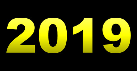 year 2019 - yellow gradient, isolated numbers - vector illustration Illustration