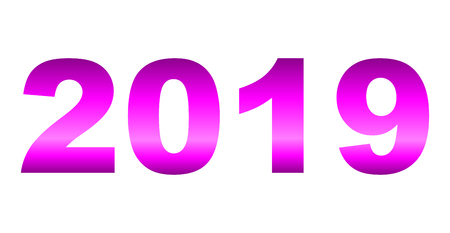 year 2019 - purple gradient reflection, isolated numbers - vector illustration
