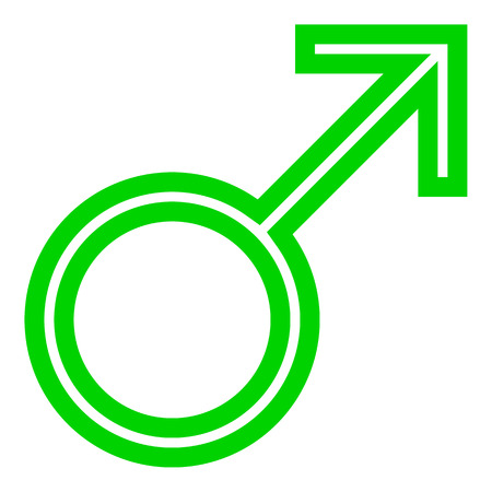 Male symbol icon - green thin outlined, isolated - vector illustration Illustration