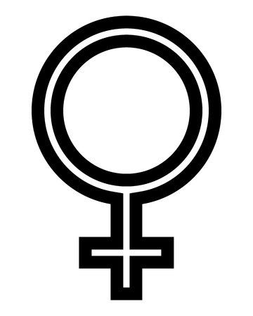Female symbol icon - black thin outlined, isolated - vector illustration