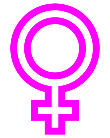 Female symbol icon - purple outlined, isolated - vector illustration Stock Illustratie