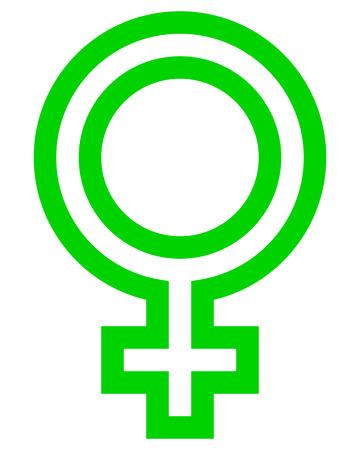 Female symbol icon - green outlined, isolated - vector illustration Ilustração