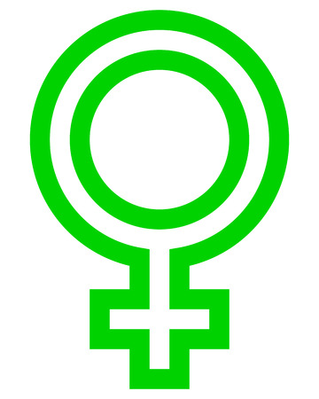 Female symbol icon - green outlined, isolated - vector illustration Illustration