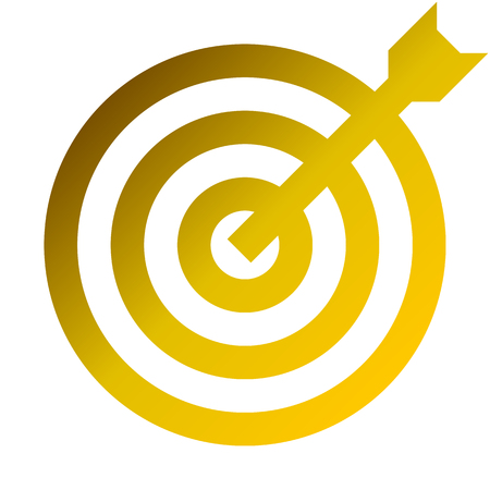 Target sign - golden gradient transparent with dart, isolated - vector illustration 矢量图像