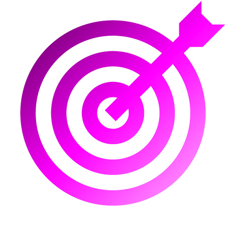Target sign - purple gradient transparent with dart, isolated - vector illustration