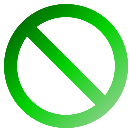 No sign - green thick gradient, isolated - vector illustration