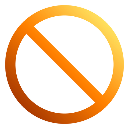 No sign - orange thin gradient, isolated - vector illustration