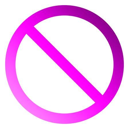 No sign - purple thin gradient, isolated - vector illustration Illustration