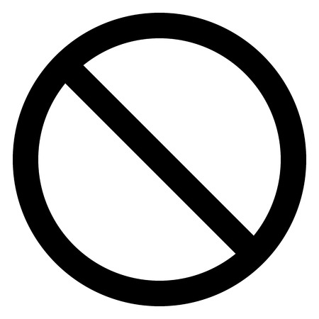 No sign - black thin simple, isolated - vector illustration Illustration