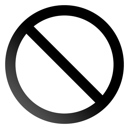 No sign - black thin gradient, isolated - vector illustration