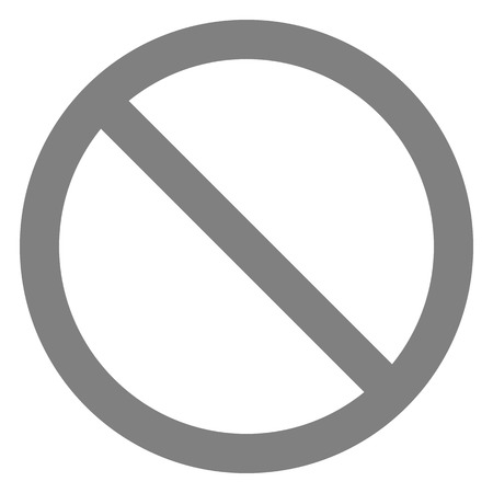 No sign - medium gray thin simple, isolated - vector illustration