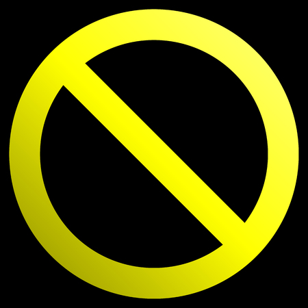 No sign - yellow thick gradient, isolated - vector illustration