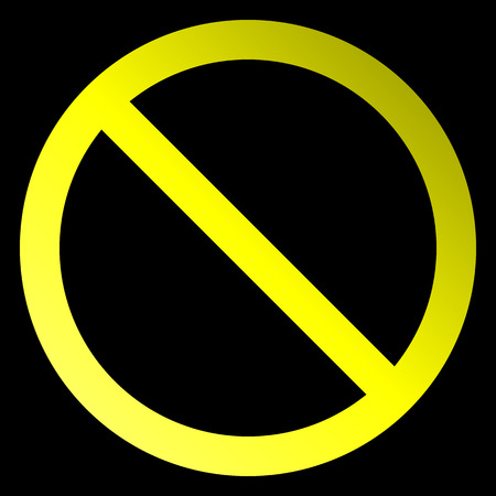 No sign - yellow thin gradient, isolated - vector illustration