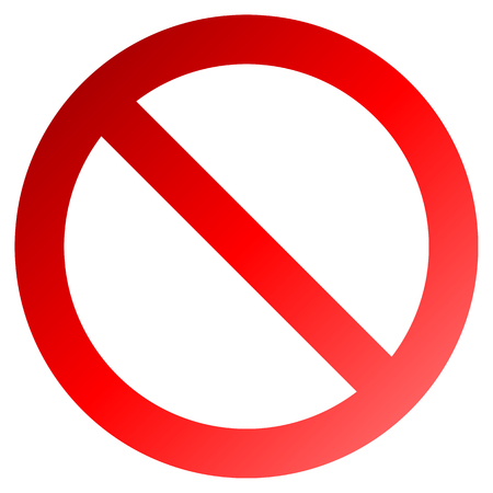 No sign - red thick gradient, isolated - vector illustration