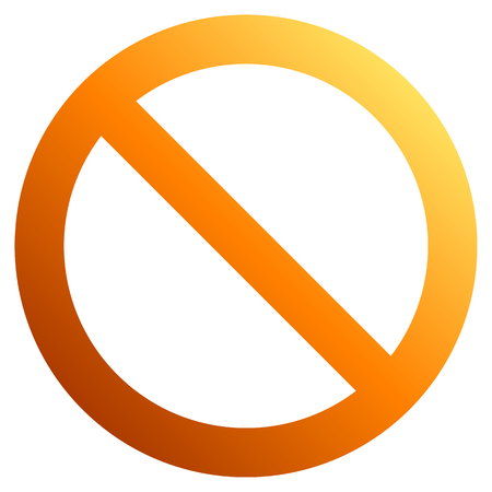 No sign - orange thick gradient, isolated - vector illustration