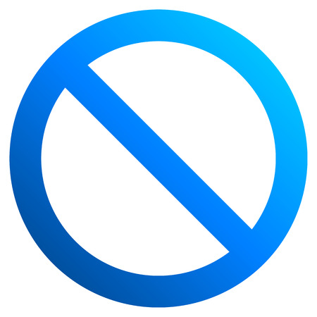 No sign - blue thick gradient, isolated - vector illustration