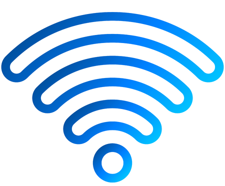 Wifi symbol icon - blue outlined rounded gradient, isolated - vector illustration