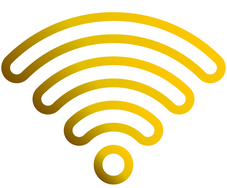 Wifi symbol icon - golden outlined rounded gradient, isolated - vector illustration