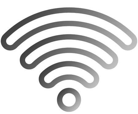 Wifi symbol icon - medium gray outlined rounded gradient, isolated - vector illustration
