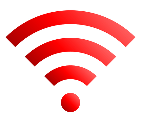 Wifi symbol icon - red simple gradient, isolated - vector illustration