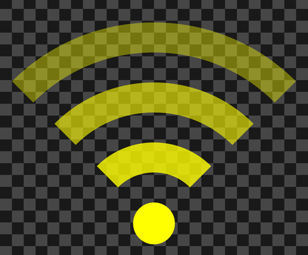 Wifi symbol icon - yellow simple transparent, isolated - vector illustration Vectores