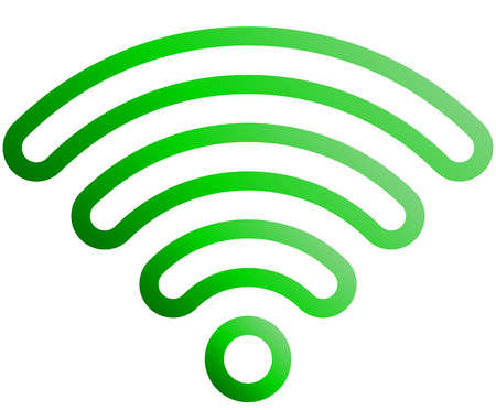 Wifi symbol icon - green outlined rounded gradient, isolated - vector illustration Illustration