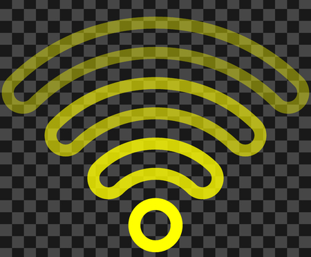 Wifi symbol icon - yellow outlined rounded transparent, isolated - vector illustration Vectores