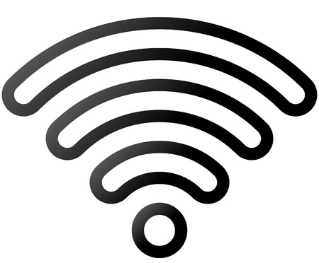 Wifi symbol icon - black outlined rounded gradient, isolated - vector illustration