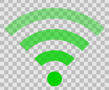 Wifi symbol icon - green simple transparent, isolated - vector illustration