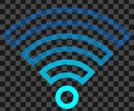 Wifi symbol icon - colorful outlined transparent, isolated - vector illustration