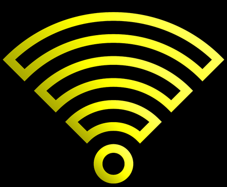 Wifi symbol icon - yellow outlined gradient, isolated - vector illustration