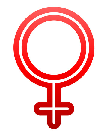 Female symbol icon - red thin rounded outlined gradient, isolated - vector illustration
