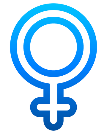 Female symbol icon - blue rounded outlined gradient, isolated - vector illustration