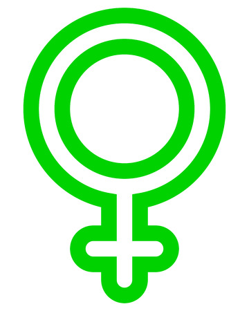 Female symbol icon - green rounded outlined, isolated - vector illustration Ilustração