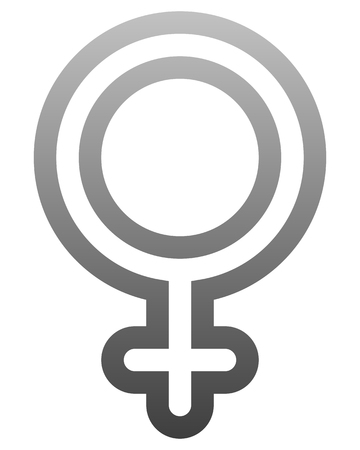 Female symbol icon - medium gray rounded outlined gradient, isolated - vector illustration Ilustração