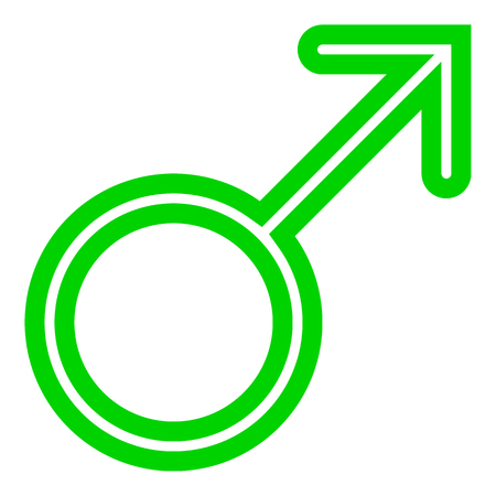 Male symbol icon - green thin rounded outlined, isolated - vector illustration Illustration