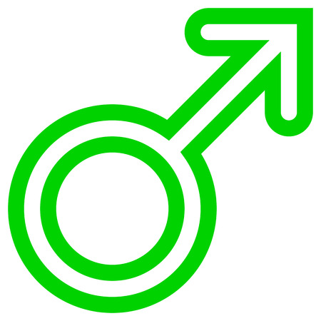 Male symbol icon - green rounded outlined, isolated - vector illustration