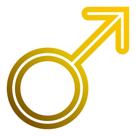 Male symbol icon - golden thin rounded outlined gradient, isolated - vector illustration