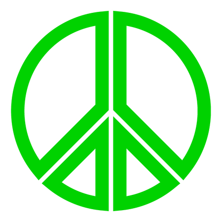 Peace symbol icon - green simple, segmented outlined shapes, isolated - vector illustration