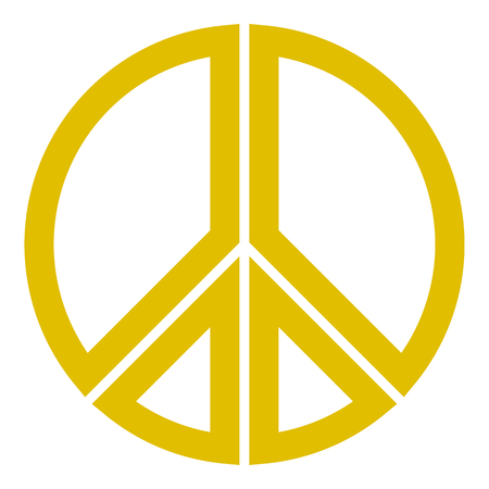 Peace symbol icon - golden simple, segmented outlined shapes, isolated - vector illustration Illustration