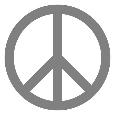 Peace symbol icon - medium gray simple, isolated - vector illustration