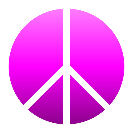 Peace symbol icon - purple simple gradient, segmented shapes, isolated - vector illustration