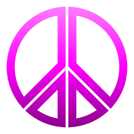 Peace symbol icon - purple simple gradient, segmented outlined shapes, isolated - vector illustration Illustration
