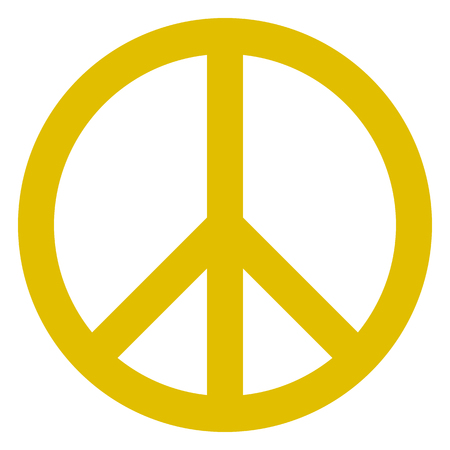 Peace symbol icon - golden simple, isolated - vector illustration Illustration
