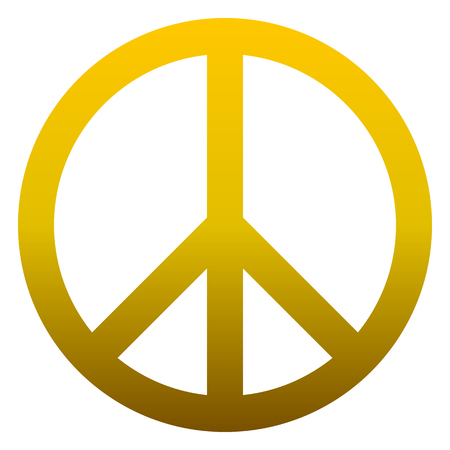 Peace symbol icon - golden simple gradient, isolated - vector illustration